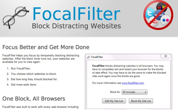 Focal Filter Site Screenshot